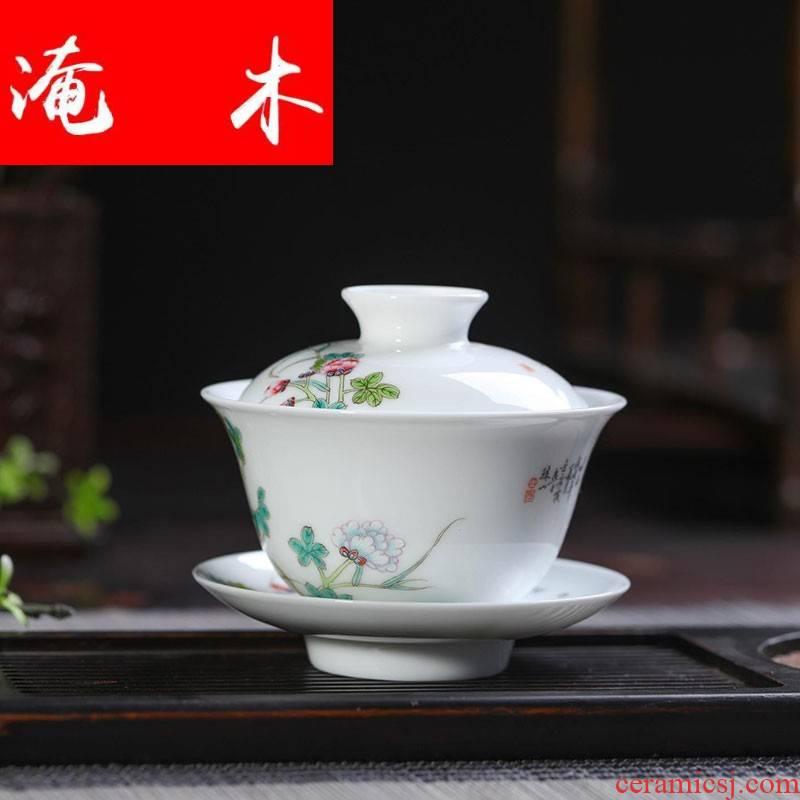 Flooded wooden checking ceramic tea ware bowl jingdezhen porcelain tea set three to make tea tureen hand - made of pastel