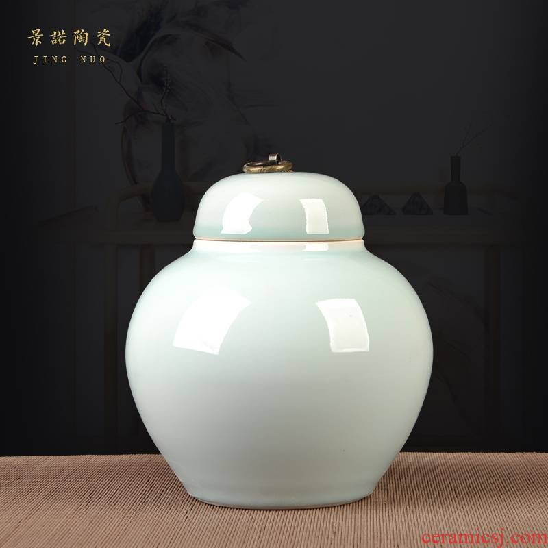 Jingdezhen ceramic pot Chinese style color glaze caddy fixings wedding gift sitting room adornment storage tank porcelain furnishing articles