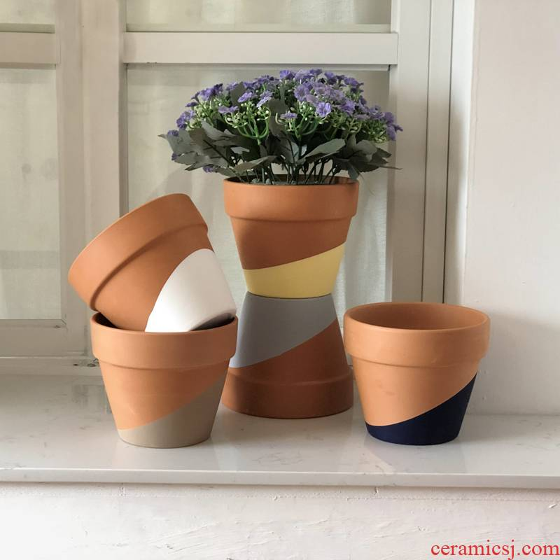 The red clay color irregular meaty plant flower pot small potted flowers, green plant air pineapple ceramic flower pot