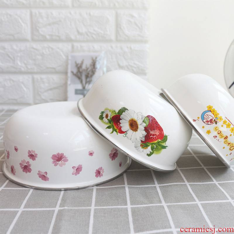 Enamel bowls with cover bento box mercifully rainbow such use salad bowl bowl pull rainbow such as bowl bowl large household preservation storage use