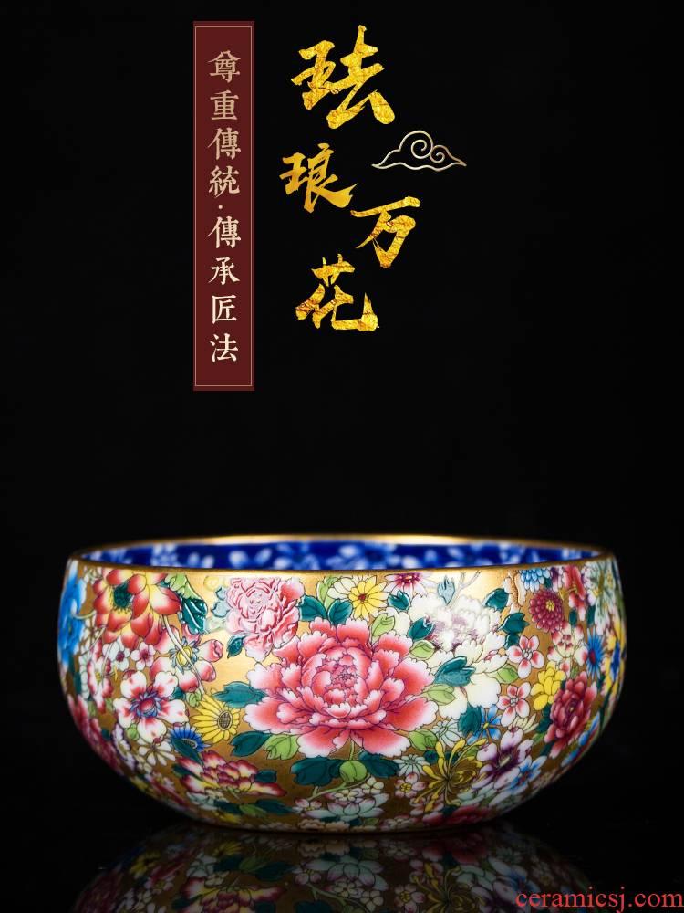 Jingdezhen kung fu tea masters cup single CPU noggin single hand sample tea cup colored enamel flower porcelain cup