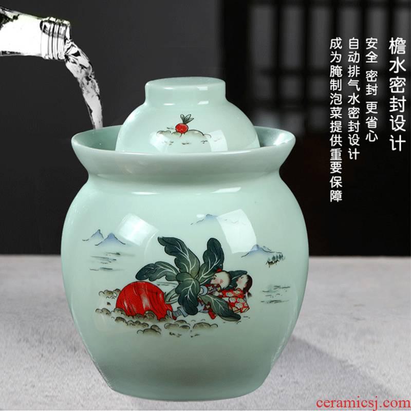 Jingdezhen ceramic double cover sealed jar of pickles pickled pickles cylinder bacon home altar wine producing cylinder storage tank