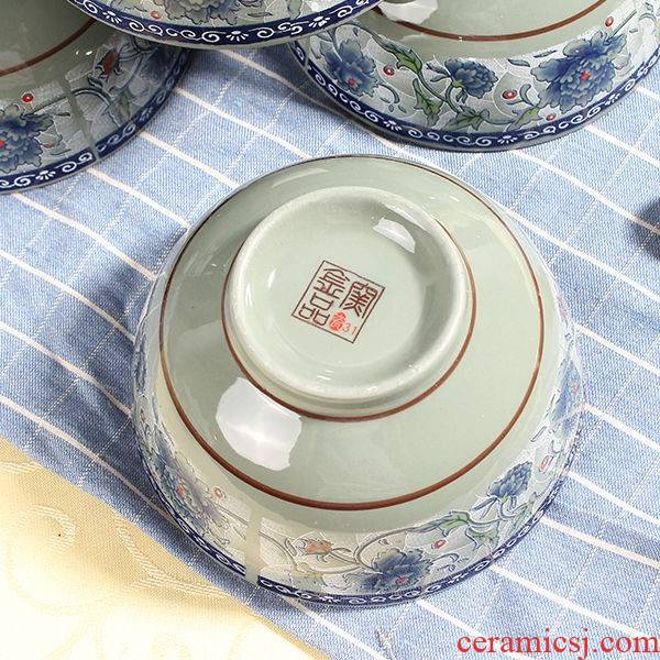 The kitchen of jingdezhen celadon dishes suit rice bowls straight family rainbow such as bowl bowl Chinese Japanese ceramics tableware