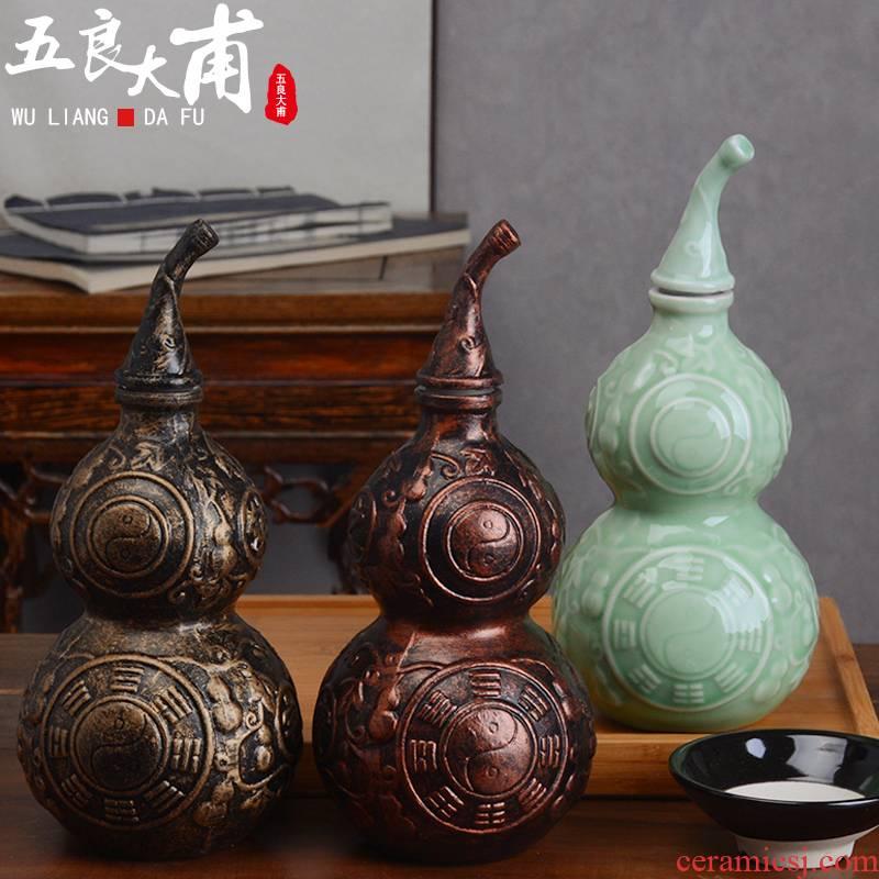 Jingdezhen ceramic jar home 1 catty three catties five liquor bottles creative tai chi feng shui furnishing articles sealed as cans