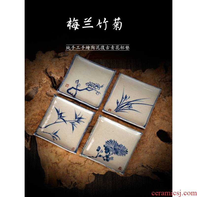The Poly real JingMeiLan bamboo by pure manual hand - made retro blue cup of jingdezhen ceramic kung fu tea tea accessories