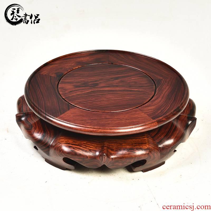 Red melon leng acid branches model of circular base solid wood Buddha base flowerpot vase base mahogany wood base