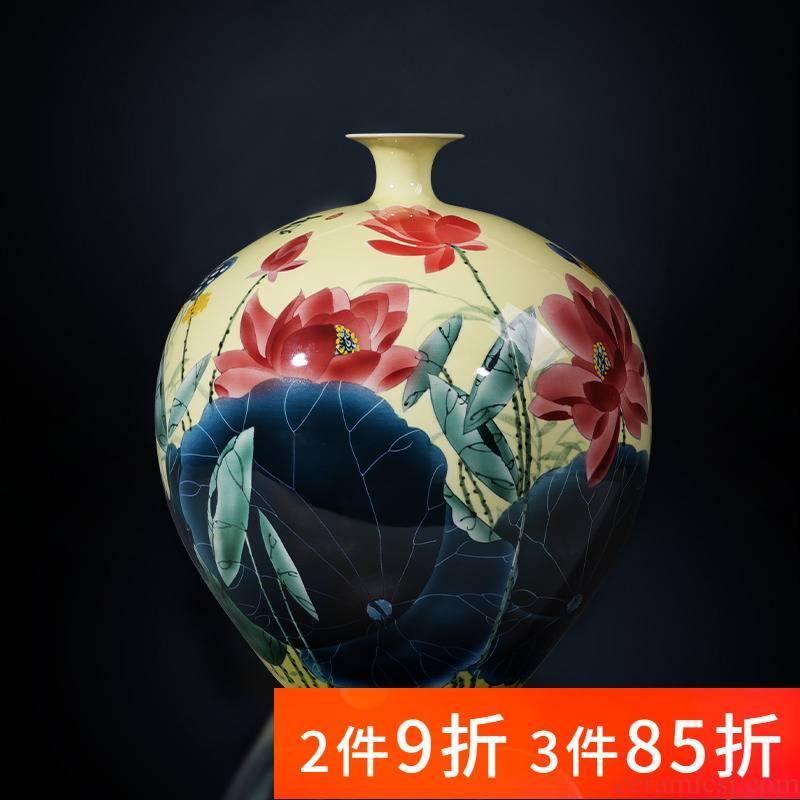 Jingdezhen porcelain ceramic hand - made lotus flower vase furnishing articles sitting room porch TV ark, new Chinese style household ornaments