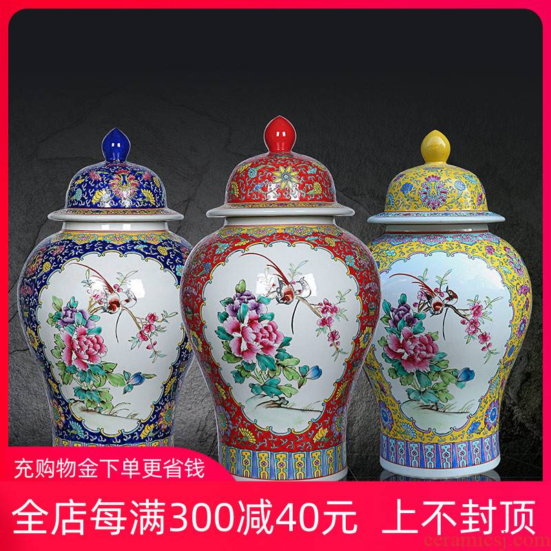 Jingdezhen ceramic general tank hand - made archaize pastel peony of large vases, sitting room of Chinese style household furnishing articles