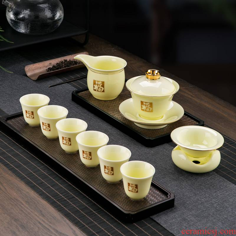 Jingdezhen ceramic kung fu tea set tea service home sitting room is contracted style suet jade porcelain tureen tea cups