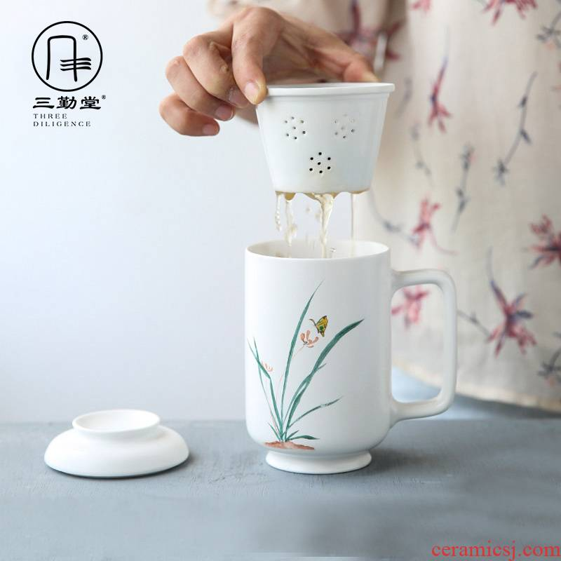 Three frequently hall tea cup ceramic filtration separation with cover the tea cups of tea cups office boss tea cups