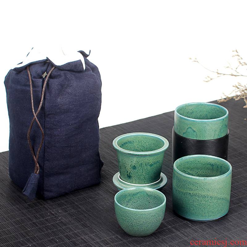 Crack cup portable travel bag new Japanese ceramic a pot of tea set two simple is suing tourism teapots