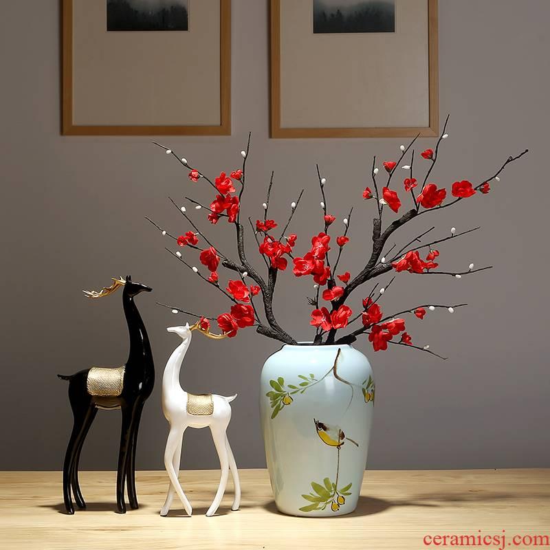Dried flower vase of jingdezhen ceramics modern creative vase decoration of the new Chinese style household living room decoration vase