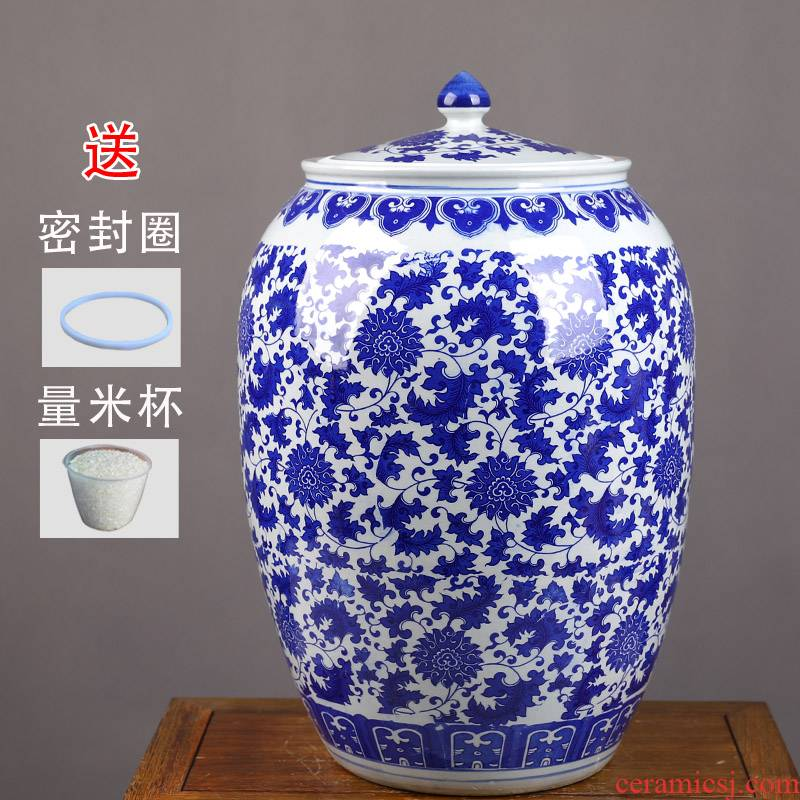 Jingdezhen ceramic barrel household 50 kg loading with cover thickening tank ricer box flour cylinder seal storage tank in the kitchen