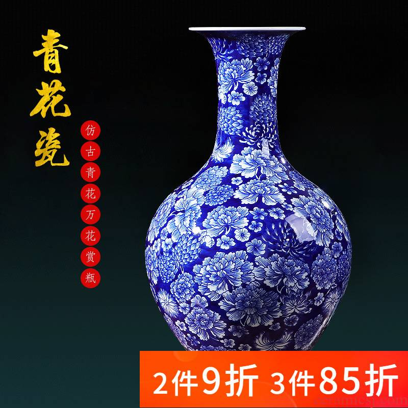 Jingdezhen ceramics craft blue and white porcelain vase in the sitting room porch decorate rich ancient frame decoration accessories restoring ancient ways furnishing articles