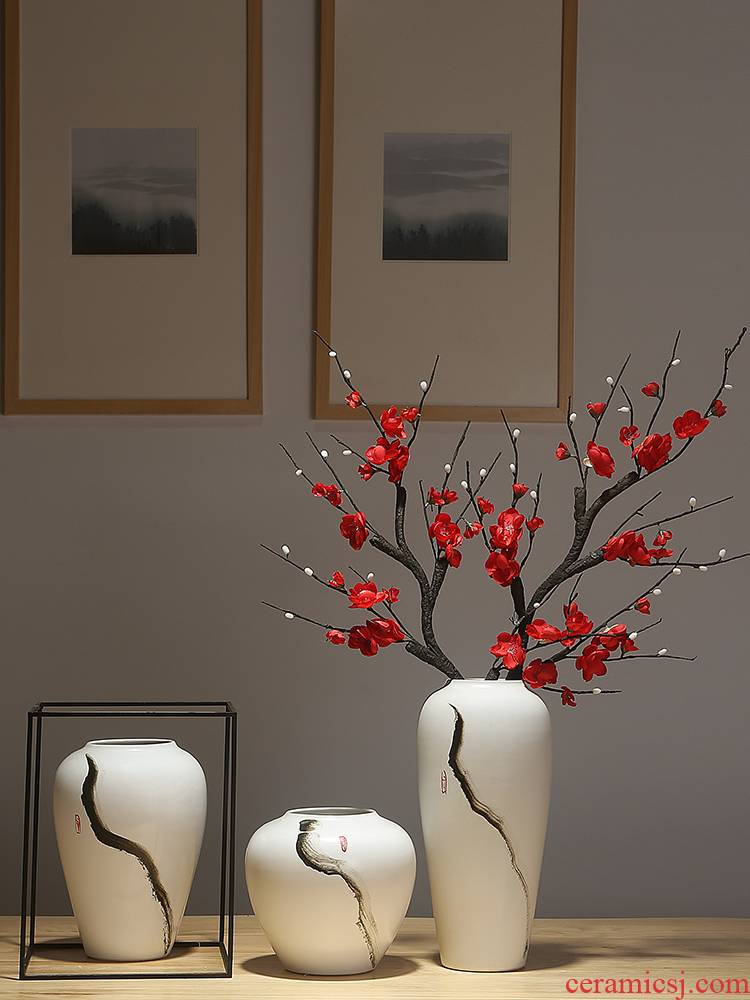 Jingdezhen ceramic vases, new Chinese style is I and contracted sitting room of dried flowers, flower arranging porch is decorated furnishing articles porcelain flowers