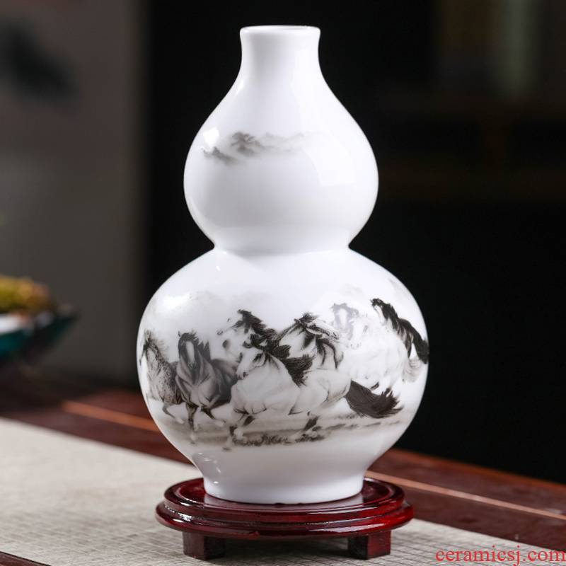 Jingdezhen chinaware bottle gourd vases, flower arranging new sitting room of Chinese style household furnishing articles rich ancient frame decorative arts and crafts