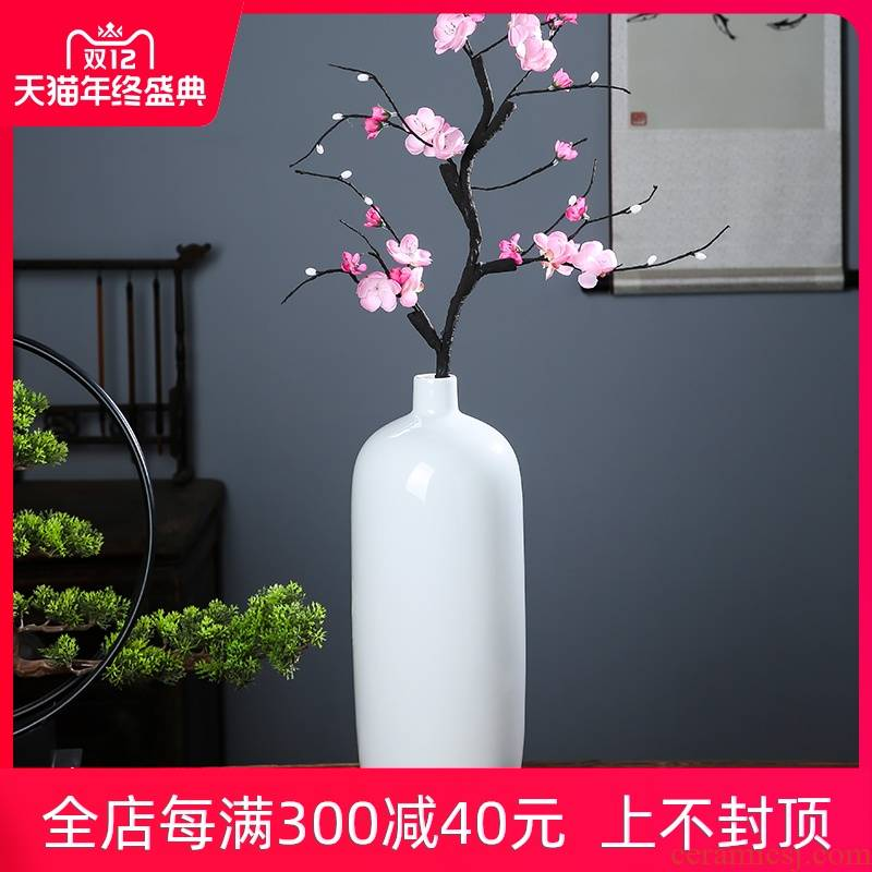Jingdezhen ceramics pure white vase dry flower arranging the I and contracted furnishing articles of household decoration wine ornament
