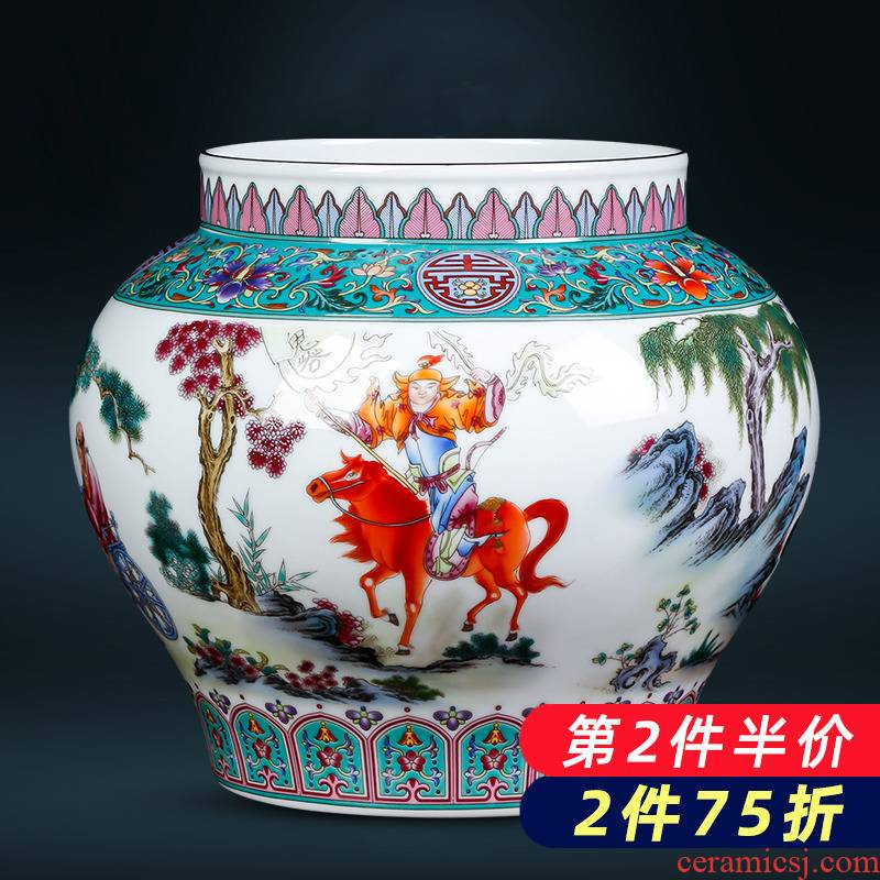 Archaize of jingdezhen ceramics colored enamel vase figure as cans sitting room adornment of Chinese style household furnishing articles written down the mountain