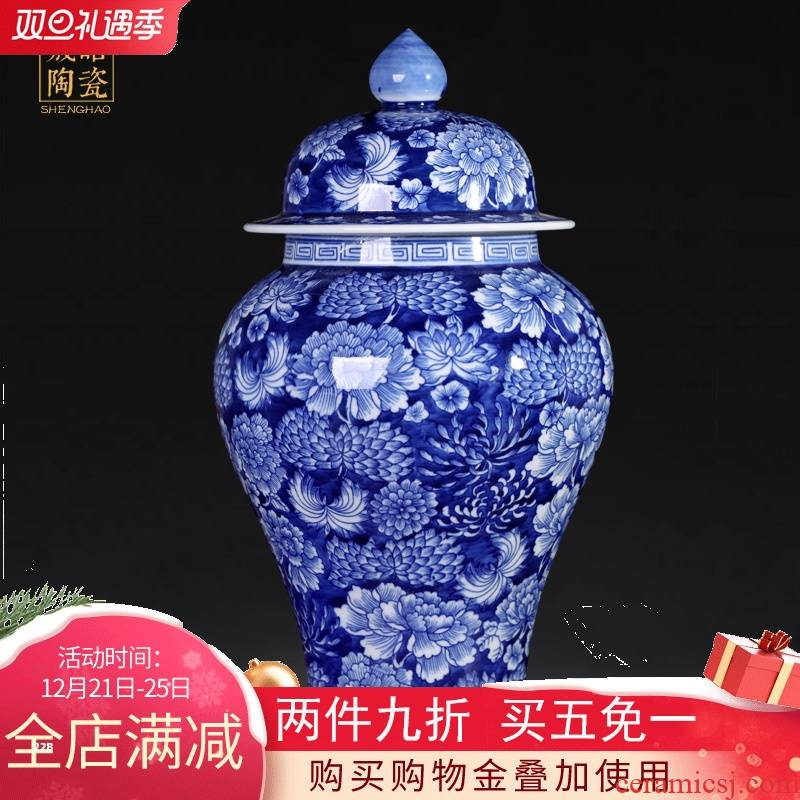 General blue and white porcelain of jingdezhen ceramic manual water tank sitting room porch TV ark, the study of Chinese style household furnishing articles