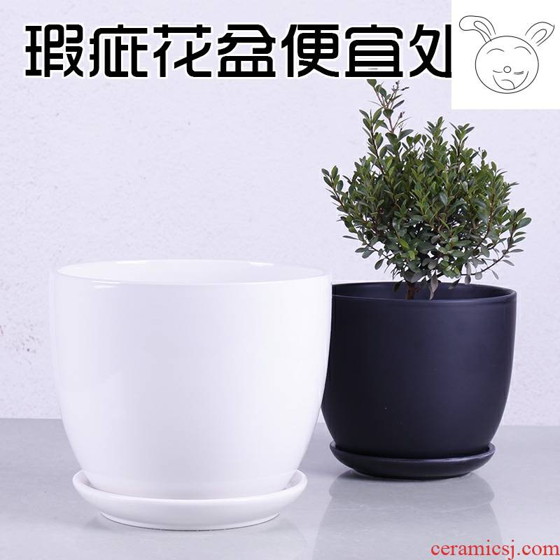 Defective white ceramic flower pot extra large indoor contracted other move tray of incomplete flower pot chlorophytum package mail