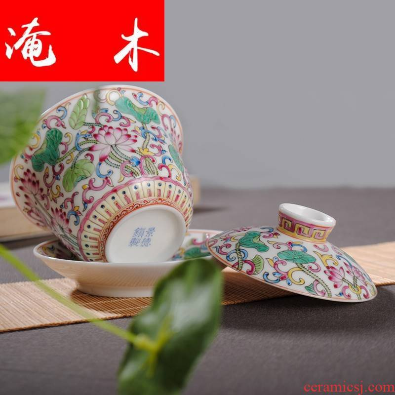 Flooded, rhyme XY - CJ284C jingdezhen hand - made ceramic famille rose tea tureen ZXZ antique porcelain cups