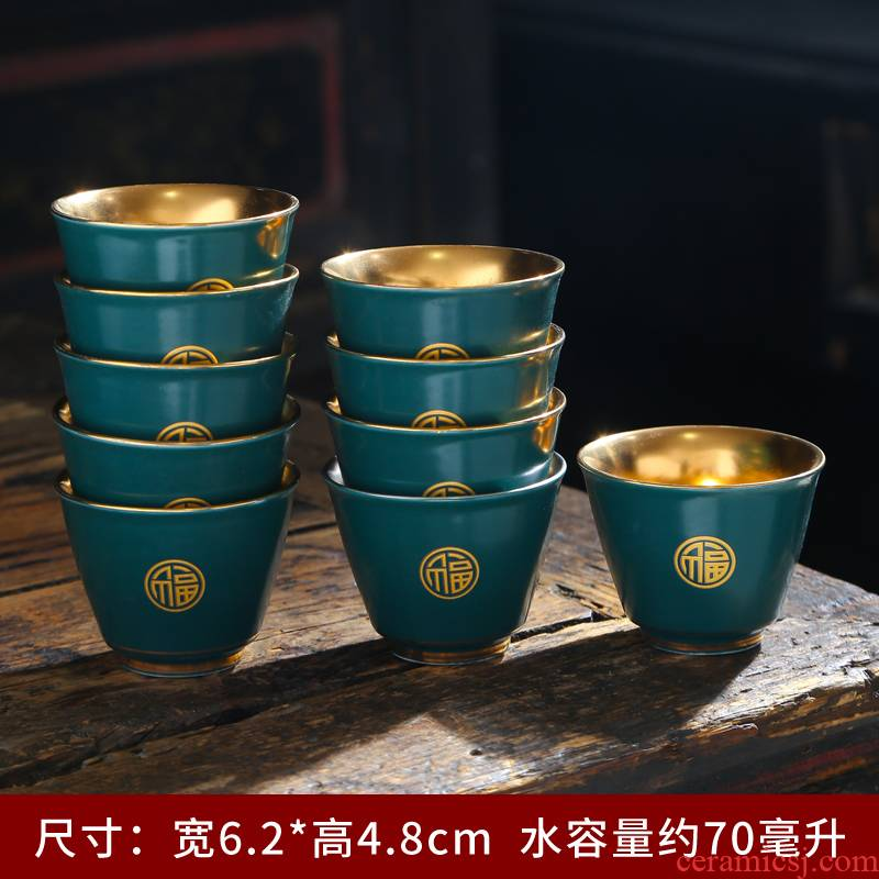 Tasted silver gilding ceramic kung fu tea set suit household sample tea cup master cup personal cup single cup cup tea accessories