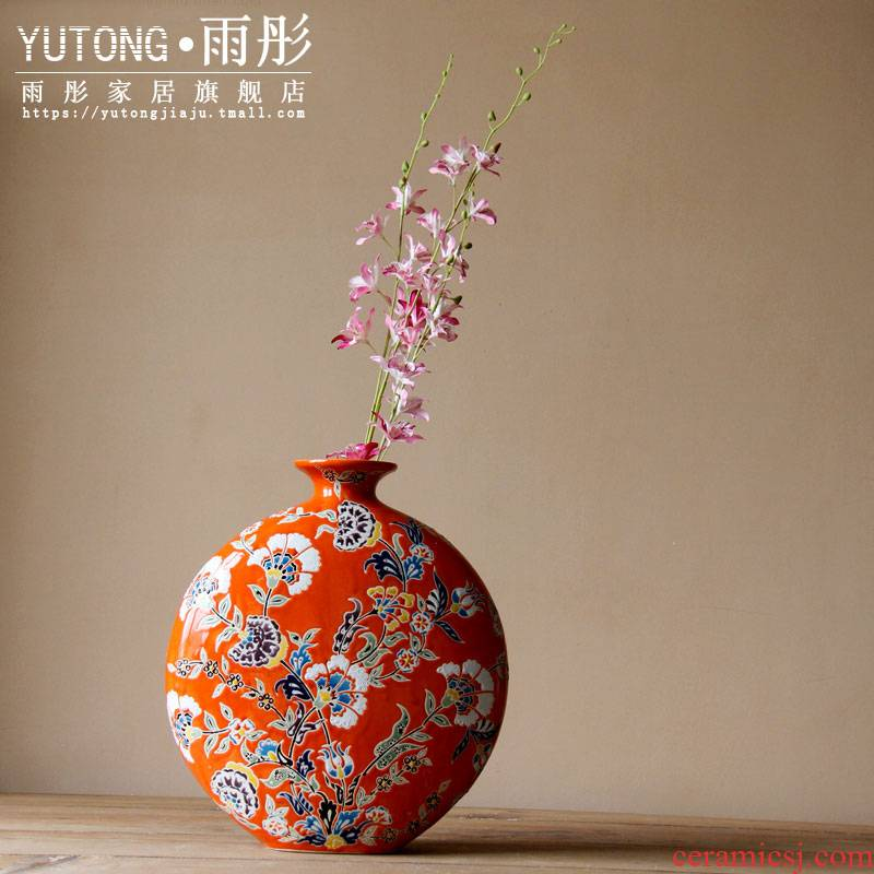 Pastel hand - made ceramic vase Chinese ceramic flat expressions using flower furnishing articles of Europe type restoring ancient ways decorates porch TV ark