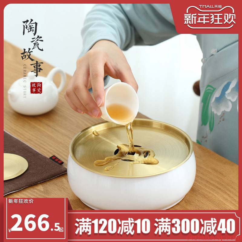 Ceramic story pure copper small ground water Japanese household contracted kung fu tea tray was drop small tea table