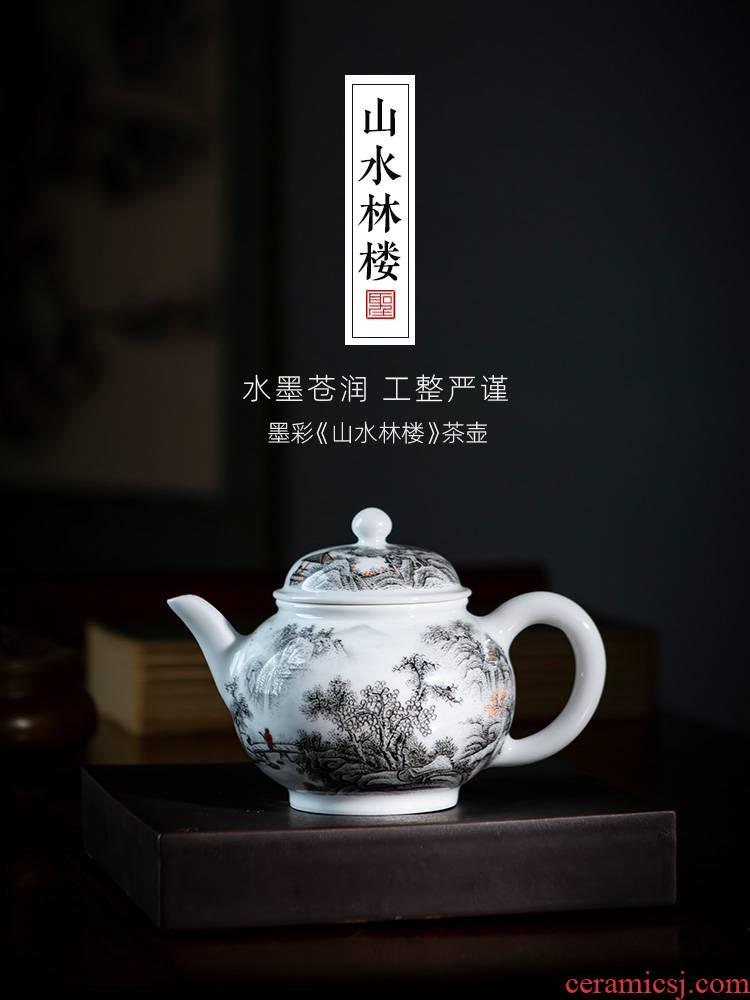 Holy big pure hand - made ceramic kung fu tea color ink landscape forest floor teapot teapot all hand of jingdezhen tea service