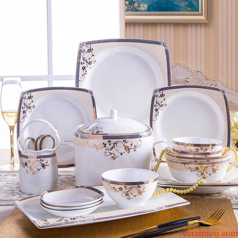 The rule of clearance! Ipads China tableware suit of jingdezhen ceramic bowl dish combination light key-2 luxury European - style key-2 luxury dishes