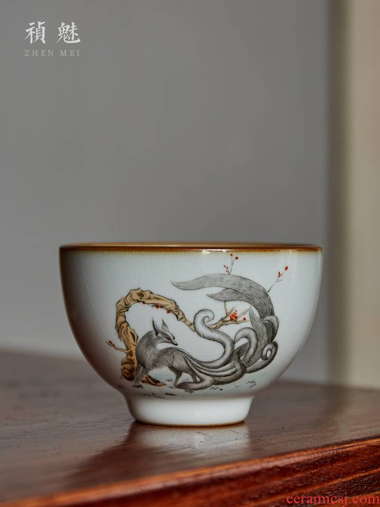Shot the charm your up hand - made the nine - tailed fox of jingdezhen ceramic cups kung fu tea set personal sample tea cup master cup single CPU