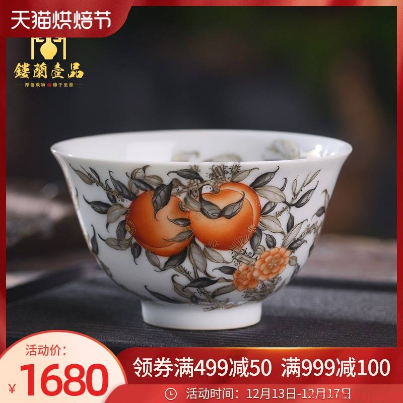 All hand - made paint nine peaches five bats alum red ink in the masters cup of jingdezhen ceramic tea set a single cup of tea cup kung fu