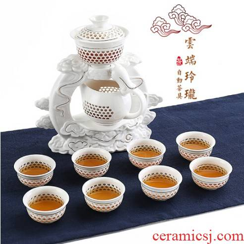 Violet arenaceous fortunes semi - automatic ceramic lazy stone mill make tea, xiangyun and exquisite of a complete set of automatic tea set