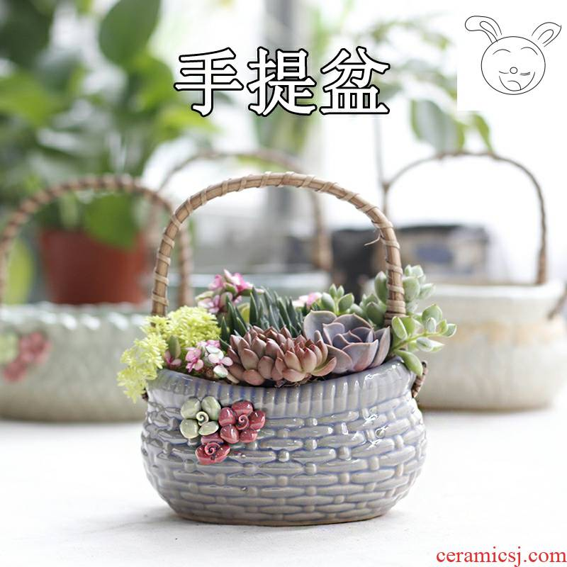 Hand basket fleshy flowerpot ceramic flower pot the plants ideas through my pockets pottery flowerpot contracted size pot pot meat