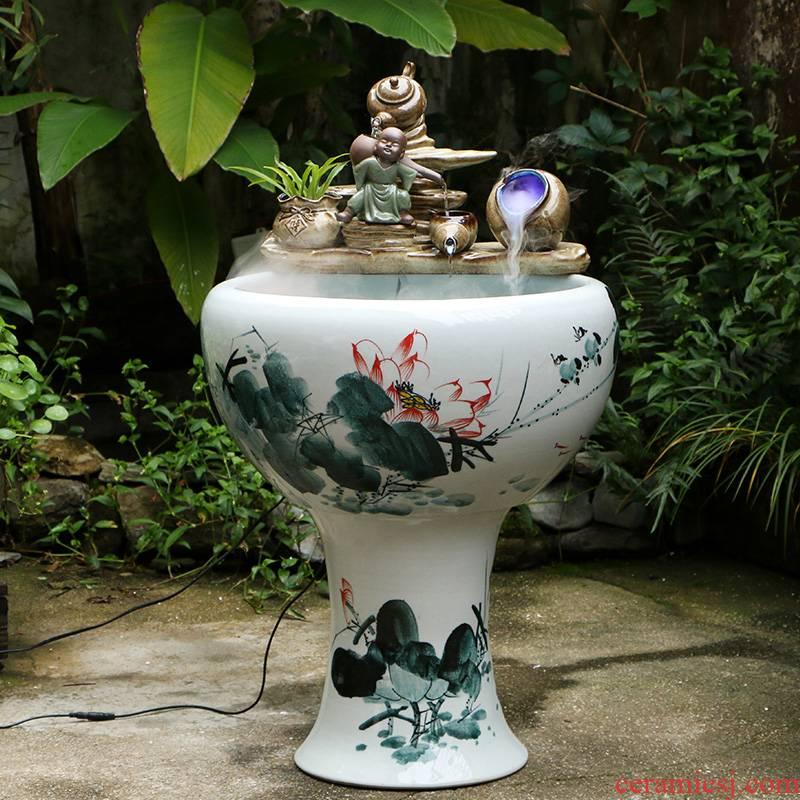Jingdezhen ceramic floor pillar circulating water tank furnishing articles home sitting room turtle cylinder goldfish bowl cylinder