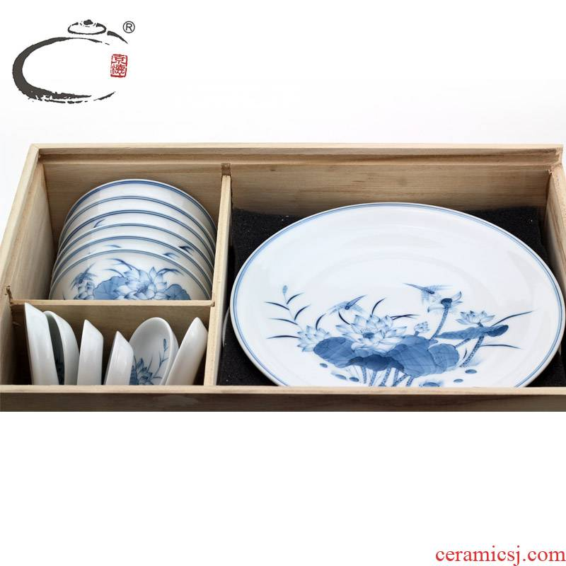 And auspicious suit tableware of jingdezhen blue And white lotus hand bowl dish dishes restoring ancient ways gift packaging gift box