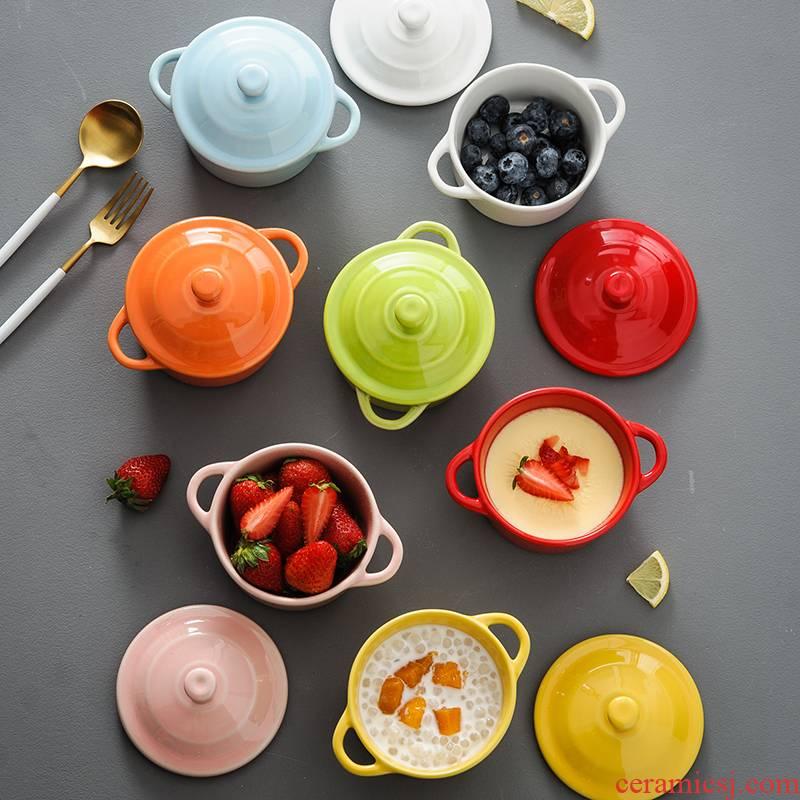 Shu she tableware dessert ceramic bowl of steaming bowl with cover ears bird 's nest egg stew to offer them a single home baking bake bowl