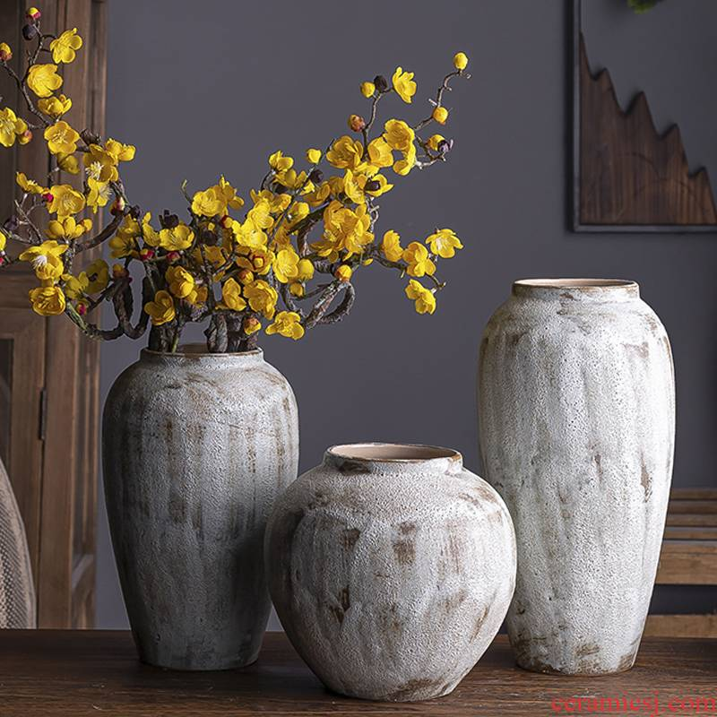 I and contracted sitting room ceramic dry flower ceramic flower vases Nordic ins furnishing articles, restore ancient ways small pure and fresh and coarse pottery