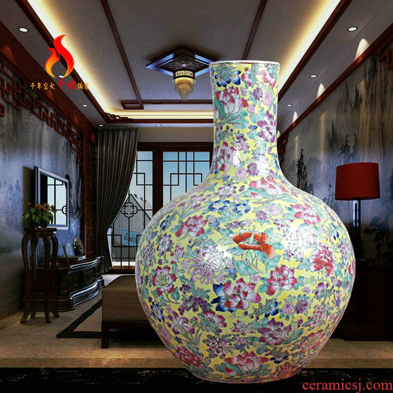 Jingdezhen ceramics vase landing high - grade hand - made yellow flower powder tree decoration pieces of new Chinese style
