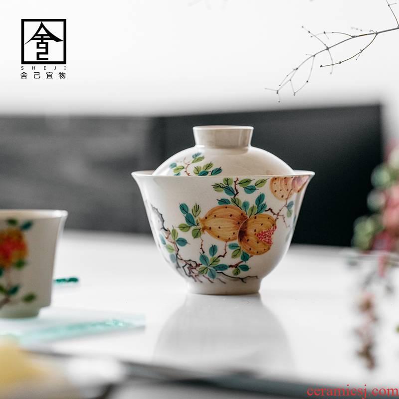"The Self - ""appropriate content of jingdezhen hand - made pomegranate tureen single CPU use ceramic retro kung fu tea set"