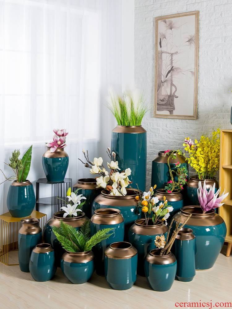 I and contracted jingdezhen ceramic vase sitting room European - style villa POTS dry flower arranging flowers, household adornment furnishing articles