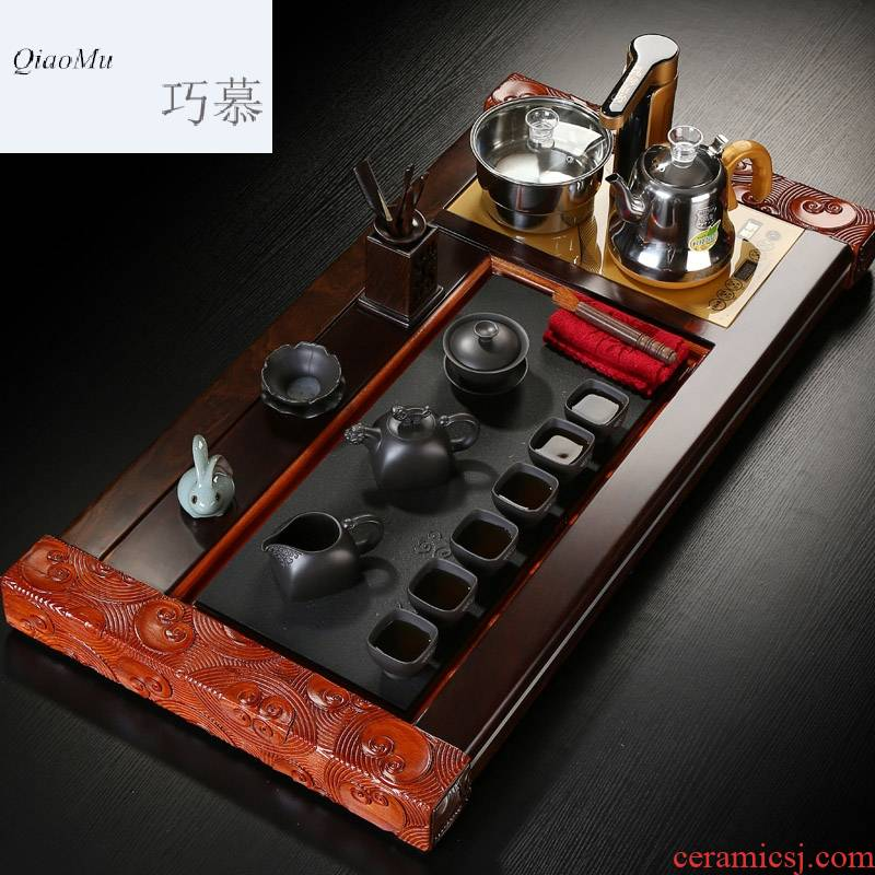 Qiao mu ebony stone rosewood tea tray was violet arenaceous kung fu tea sets suit household contracted teapot teacup four