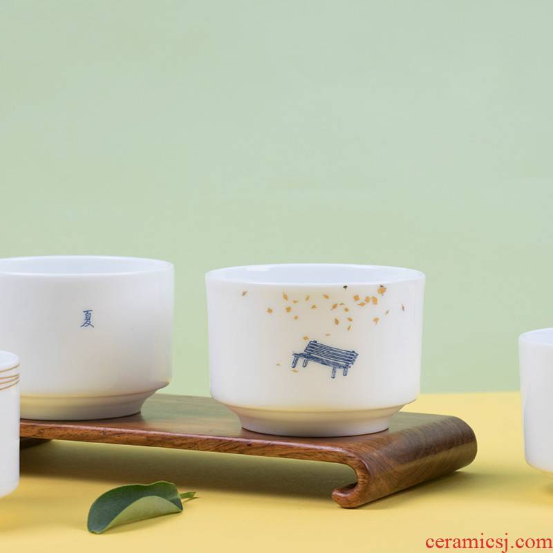 Celadon teacup master cup ceramic tea cups suet jade porcelain master cup single CPU getting small tea cups