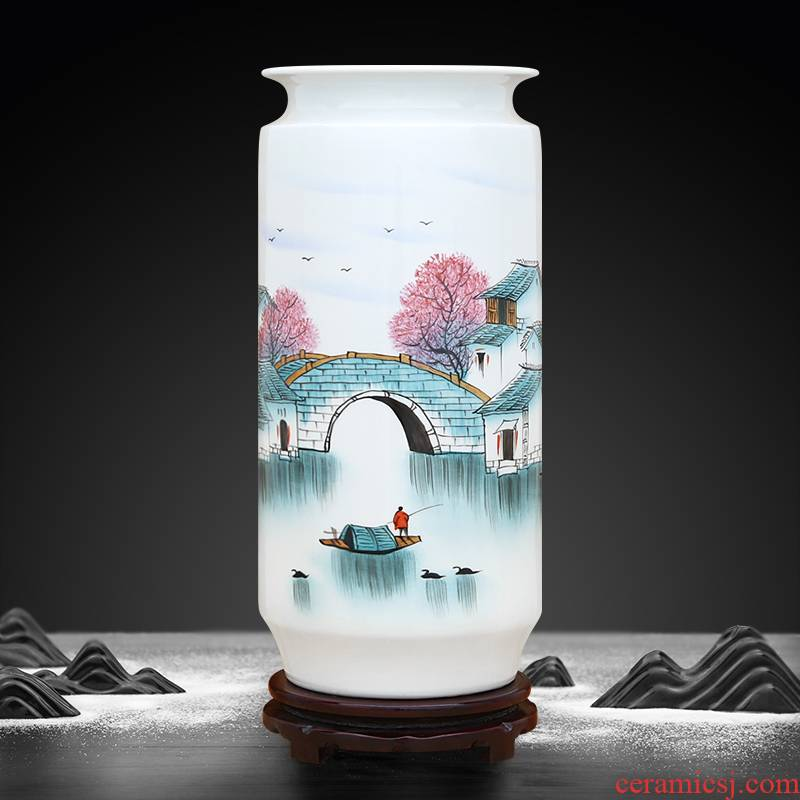 To ceramics jiangnan new color hand - made straight bottle furnishing articles in the living room