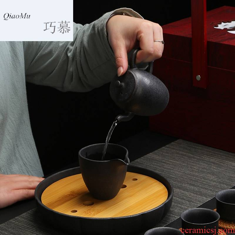 Qiao MuYin pot dry mercifully suit of black spot zen tea tea tray was kung fu tea set ceramic cups of a complete set of gift box