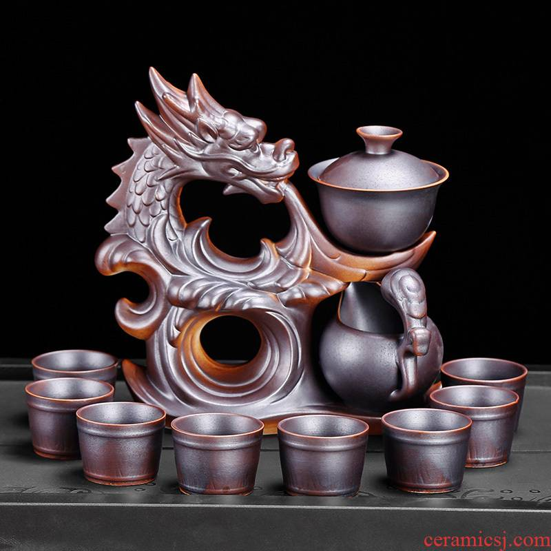Simple semi - automatic lazy kung fu tea tea cup rust restoring ancient ways suit antique household ceramics glaze individuality