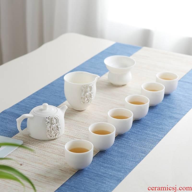 Qiao mu of jingdezhen tea service suit household contracted suet jade porcelain kung fu tea ware ceramic cups small cups