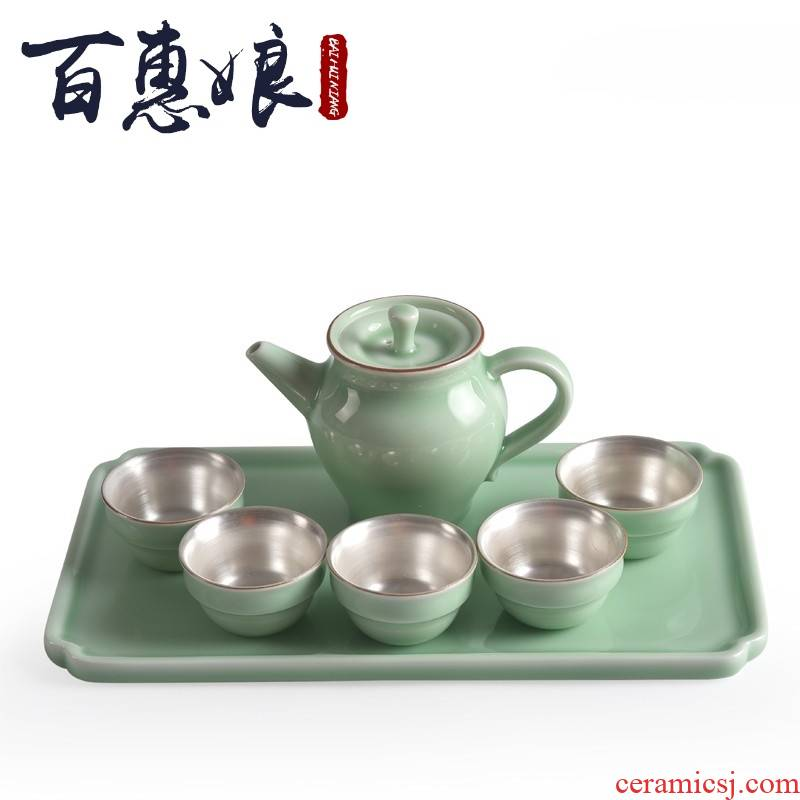 (niang 999 sterling silver with silver ceramic cups travel bowl tea pot dry terms plate of kung fu tea taking