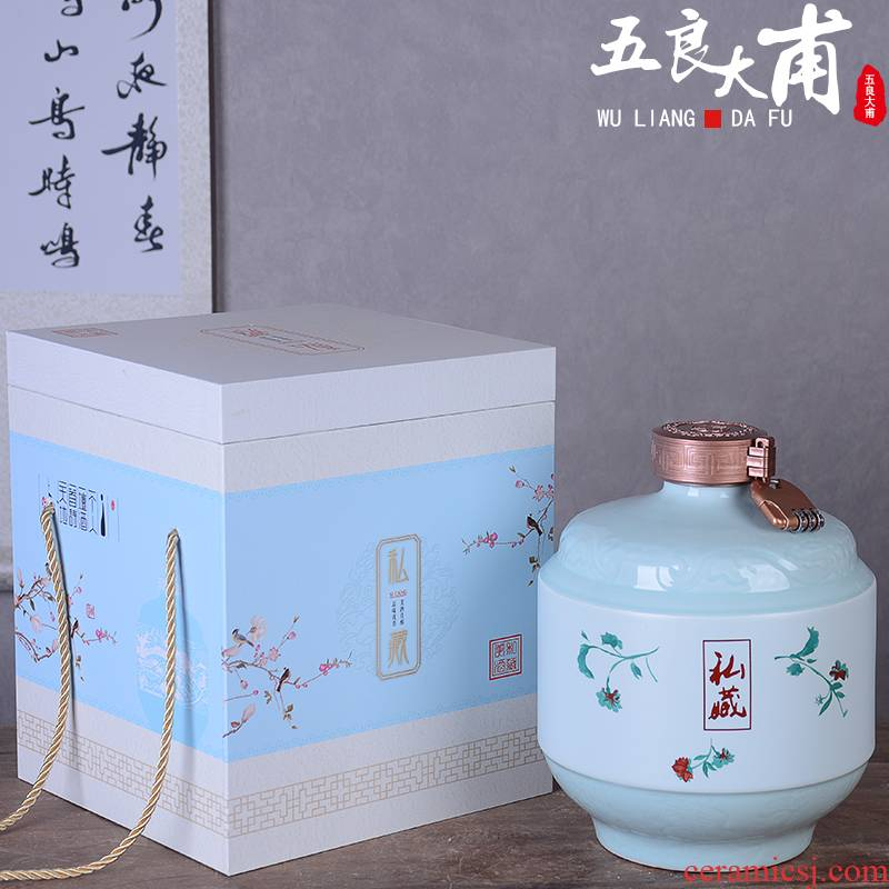 Jingdezhen ceramic bottle with gift box home 1 catty three catties five liquor pot of archaize wind sealed with small jugs