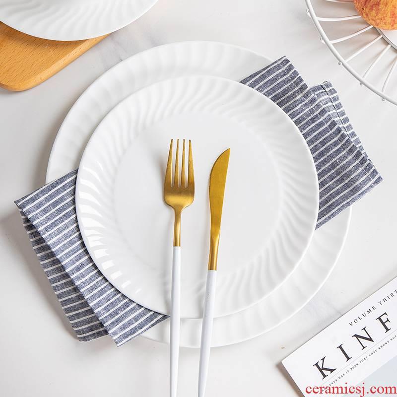Jingdezhen ceramic round plate ceramic dish dish dish platter of pure flat household utensils beefsteak